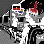 Cartoon of high school students joking on school verandah, laughing at homophobic jokes and racist jokes.