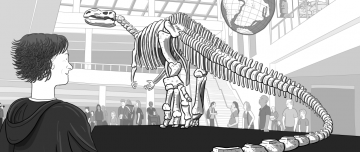 Inconceivable Religion: cartoon Stuart standing near dinosaur skeleton