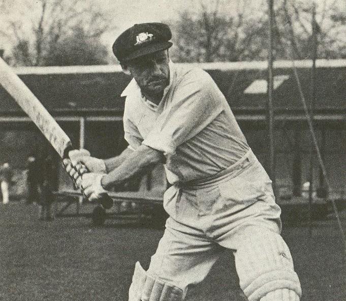 Donald Bradman batting, circa-1930s or 40s