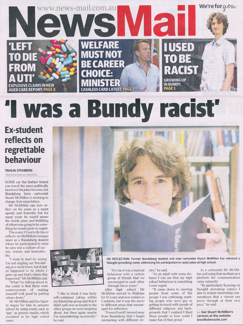 NewsMail article about Bundy High cartoon I Used to Be Racist by Bundaberg cartoonist Stuart McMillen