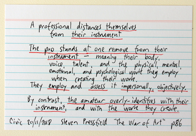 """A professional distances themselves from their instrument"" - Steven Pressfield quote in ""The War of Art"""