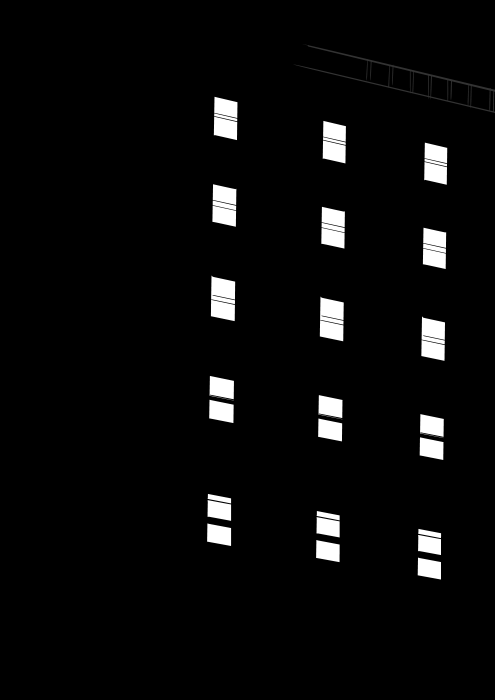 Black building at night time with windows illuminated. Line art drawing.