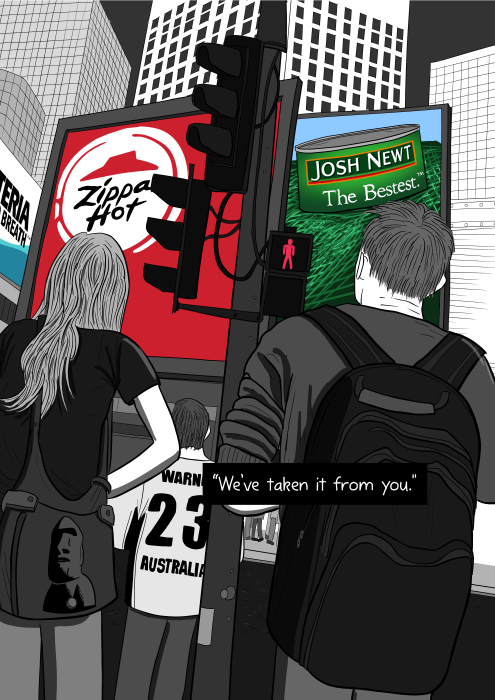Rear view of pedestrians waiting at traffic signals at pedestrian crossing. Illustration of cityscape dominated by large billboards, similar to Times Square.