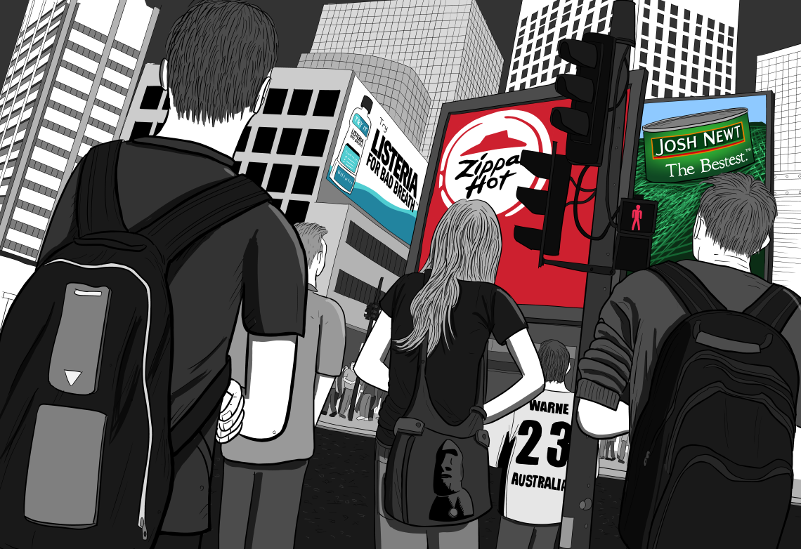 Rear shot of group of pedestrians on city street corner looking at billboard ads on nearby building. Comics art drawing of billboard advertising in a downtown city.