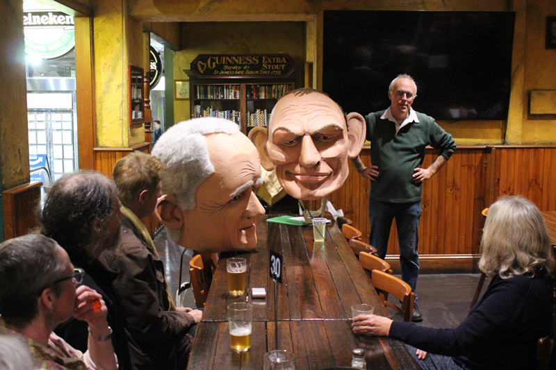 Real Big Malcolm and Real Big Tony puppet heads with Matthew Armstrong at Green Drinks Canberra
