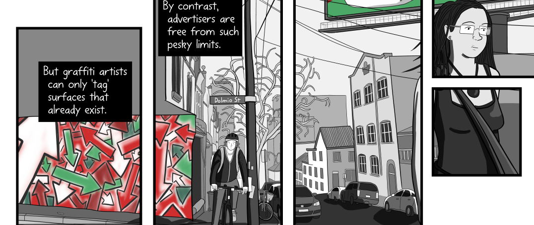 Composition and panel arrangement of Stuart McMillen billboards comic