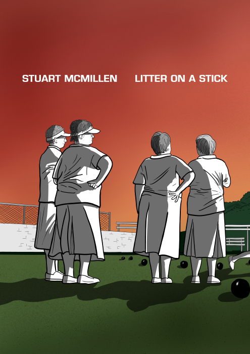 Litter on a Stick by Stuart McMillen. Cartoon rear view of elderly women in lawn bowls whites, looking towards the horizon.
