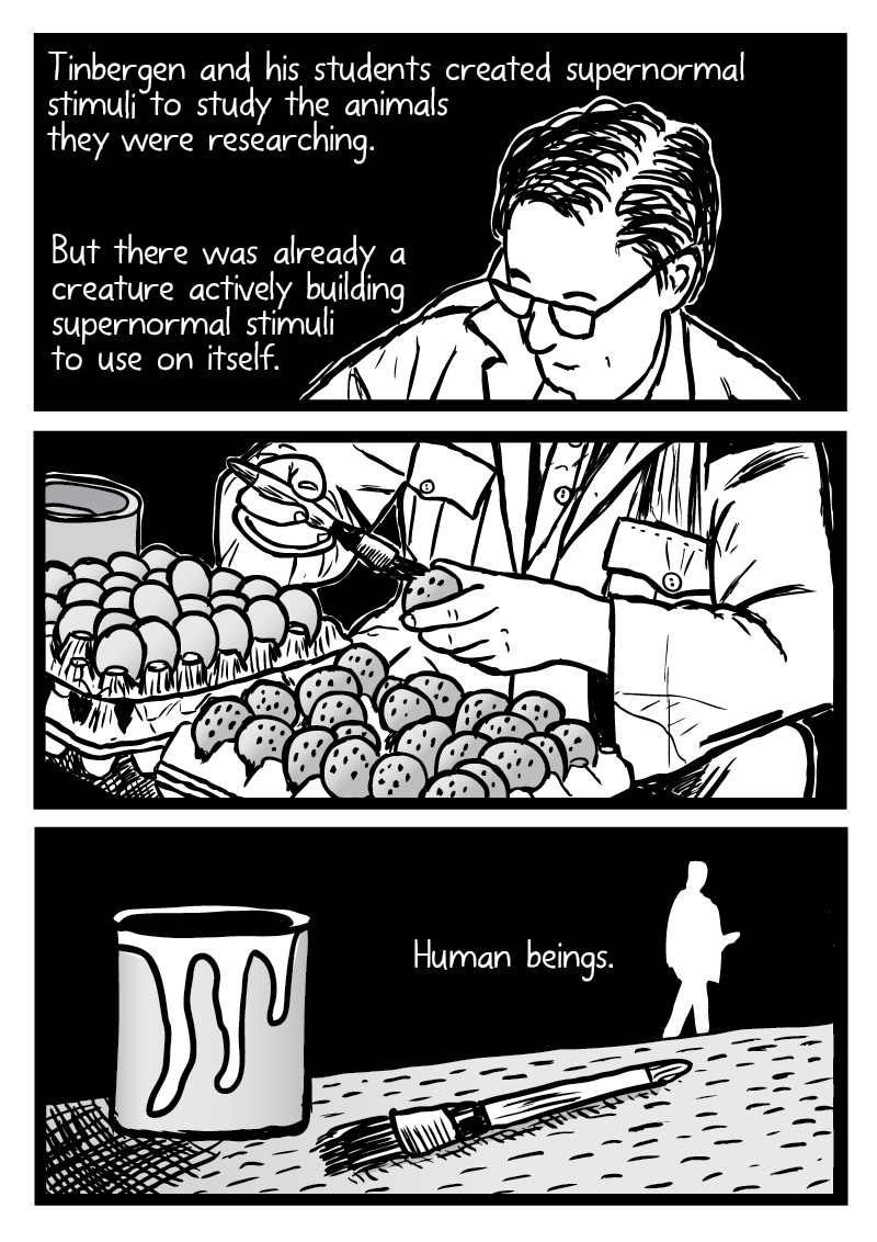 "Cartoon illustration of Niko Tinbergen painting bird eggs from comic ""Supernormal Stimuli"" by Stuart McMillen."