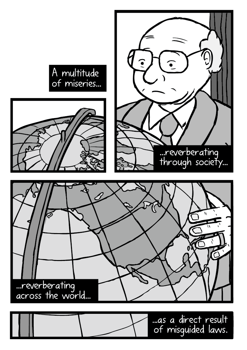 Comics art of one scene broken into multiple panels: man standing at globe of Earth, showing North America prominently.