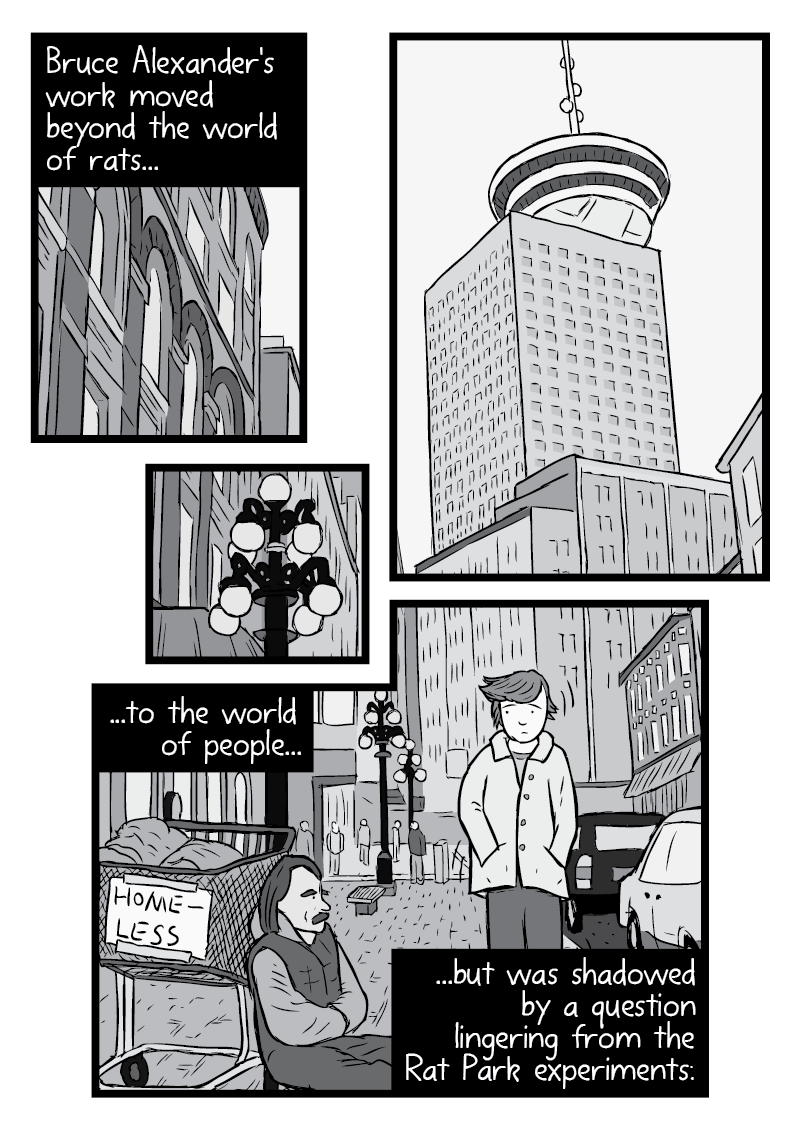 Cartoon of man walking along street, near homeless man. Bruce Alexander in Vancouver underneath the Harbour Centre broken into multiple panels from the Rat Park comic.