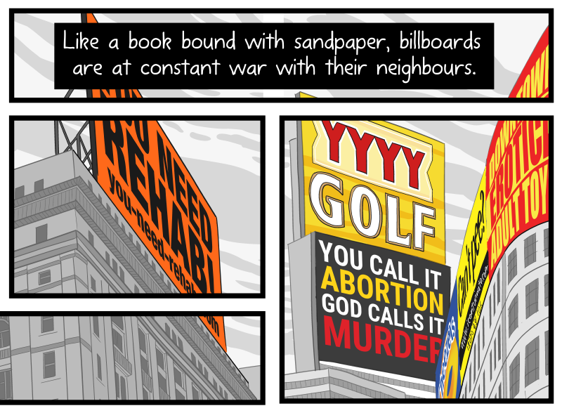 "Artwork detail: ""Litter on a Stick"" comic about billboards broken up into multiple panels."