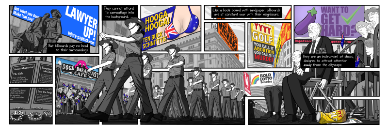 "Cartoon ""Anzac Day"" scene from comic ""Litter on a Stick"" from Stuart McMillen's comics about billboards. Showing the one scene broken into multiple panels."