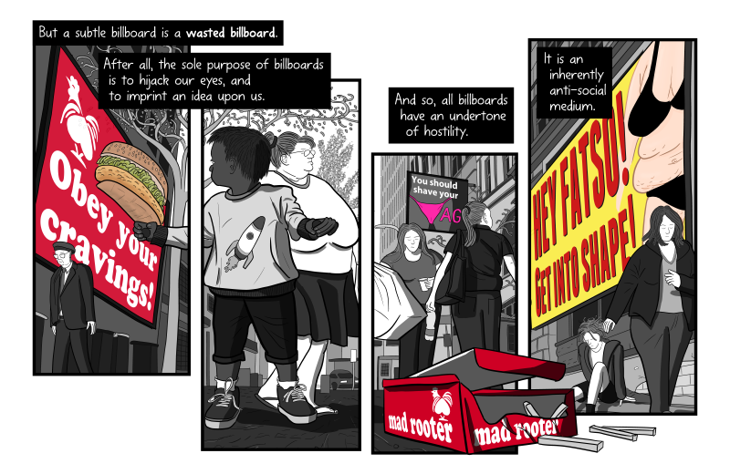 "Artwork from ""Litter on a Stick"" showing Red Rooster chicken parody ""Mad Rooter"", broken into panels with text captions."