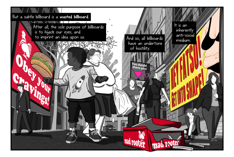 "Unbroken artwork from ""Litter on a Stick"" showing Red Rooster chicken parody ""Mad Rooter"". Artwork as one scene without panel borders."