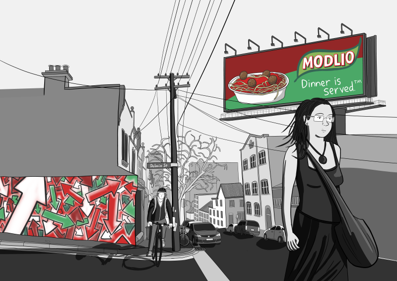 Stuart McMillen Dolmio double-page artwork without borders. Modlio pasta sauce billboard.