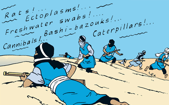 Hergé's favourite panel from The Crab With the Golden claws featuring a man running away across the sand dunes