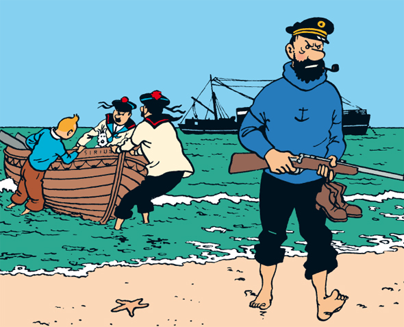 Hergé's favourite panel from Red Rackham's Treasure, featuring Tintin landing on the beach with a boat, and Captain Haddock walking ashore with a rifle.