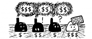 Cartoon factories with pollution and dollar signs.