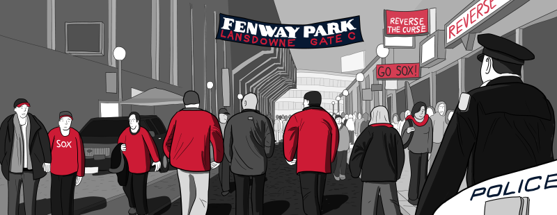 Cartoon illustration of baseball fans entering Fenway Park via Lansdowne Street ahead of Red Sox game