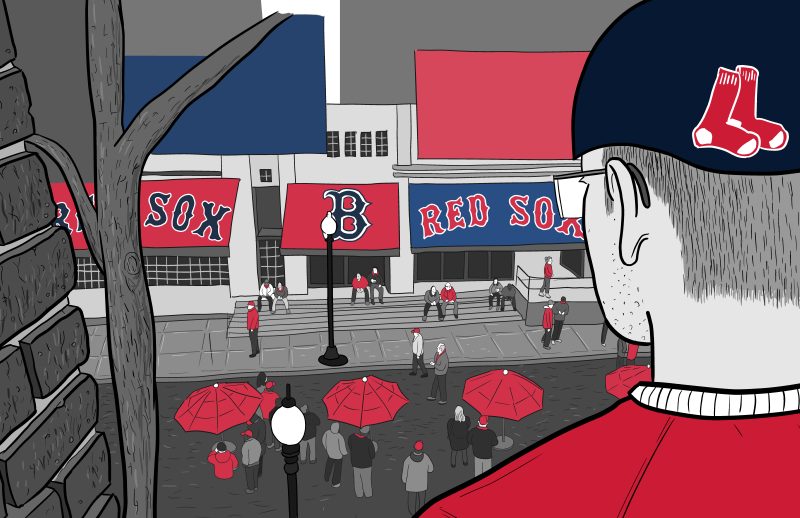 Rear view of back of fan wearing Boston Red Sox baseball cap, looking down at street near Fenway Park baseball stadium.