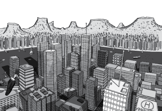 Detailed illustration of city skyscrapers from building top. Cartoon skyline with mountain range behind the city.