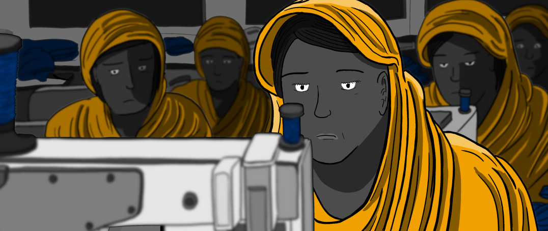 Woman wearing head covering working in sweatshop at sewing machine, looking at camera - illustration.