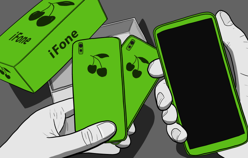 Cartoon hands holding new iPhone, in an unboxing first-person POV.