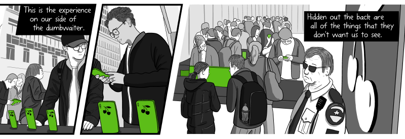 Customers looking at products inside Apple Store - cartoon drawing. This is the experience on our side of the dumbwaiter. Hidden out the back are all of the things that they don't want us to see.