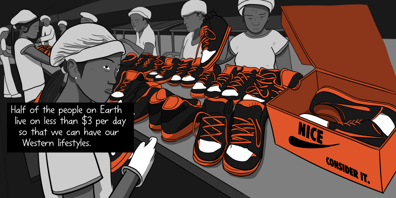 Woman working in a sweatshop, putting Nike shoes into a box - cartoon drawing. Half of the people on Earth live on less than $3 per day so that we can have our Western lifestyles.