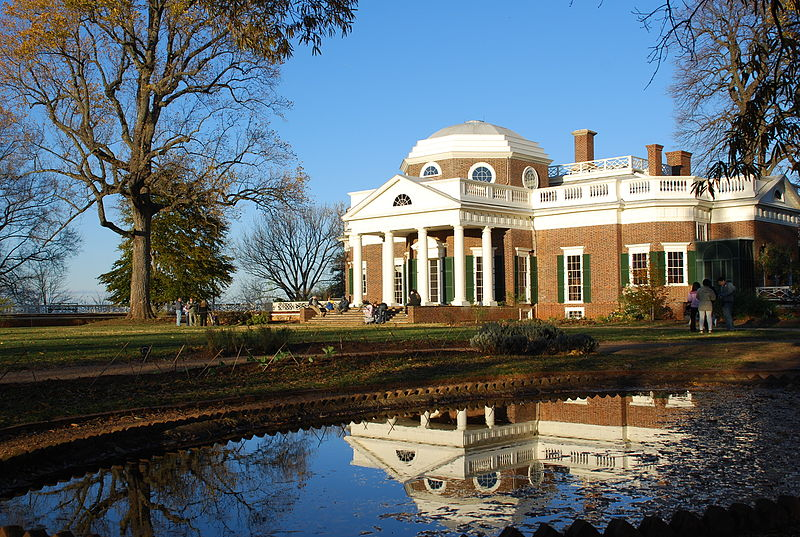 Thomas Jefferson's Monticello mansion reflected in pond