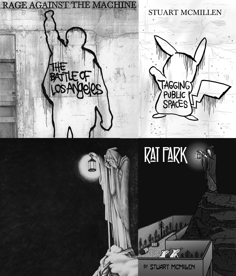 Music album artwork references in Stuart McMillen comics: Rage Against the Machine and Led Zeppelin.