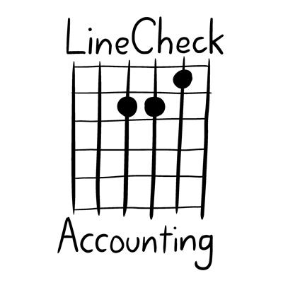 LineCheck Accounting logo - A minor chord guitar tab