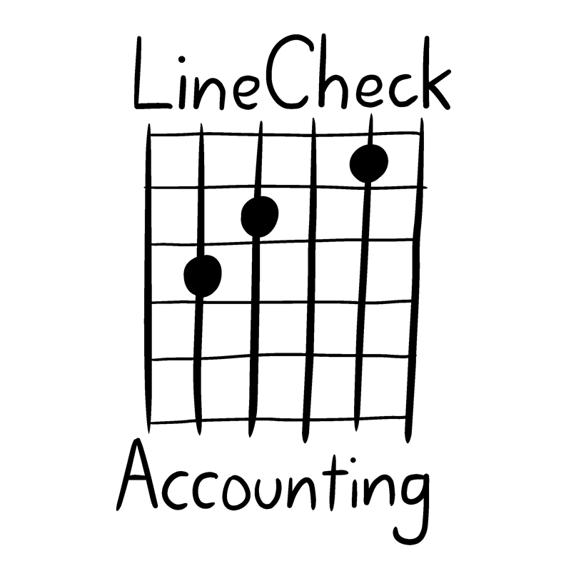 LineCheck Accounting logo - white text on white background