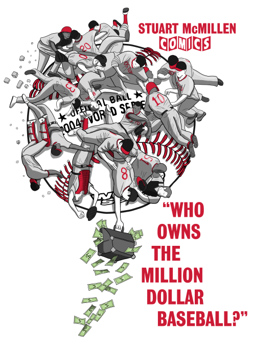 Who Owns the Million Dollar Baseball? by Stuart McMillen. Parody of