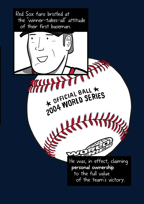 Cartoon World Series baseball ball. Red Sox fans bristled at the