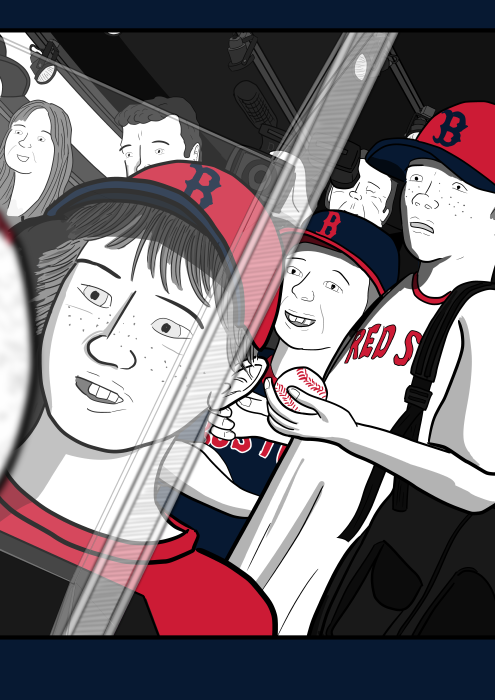 Cartoon drawing of faces of amazed young boys in baseball uniforms. Excited baseball fans staring at autographed baseball souvenir memorabilia.
