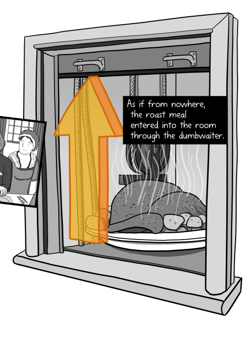 Cartoon dumbwaiter opening up to reveal a steaming roast meal inside. As if from nowhere, the roast meal entered into the room through the dumbwaiter.
