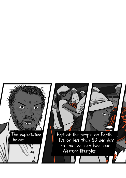 Comics art of angry boss shouting at woman in factory. The exploitative bosses. Half of the people on Earth live on less than $3 per day so that we can have our Western lifestyles.