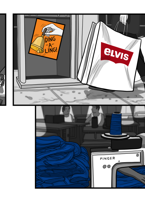 Logo parody of Levi's jeans: Elvis jeans - on a shopping bag being carried by a shopper on the street.