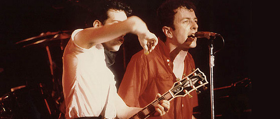 Mick Jones and Joe Strummer onstage with The Clash