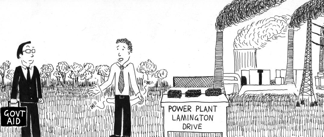 Cartoon of lamington drive at a coal power plant