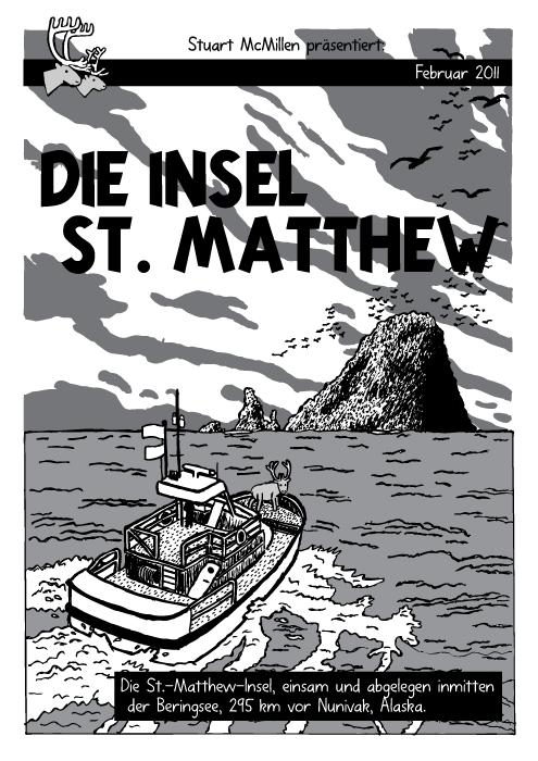 """Ozean Insel Boot Cartoon. Comicbuch. Tim & Struppi """"Die schwarze Insel"""" Titelblatt. Rentier. St Matthew Island. Die St.-Matthew-Insel, einsam und abgelegen inmitten der Beringsee, 295 km vor Nunivak, Alaska."""