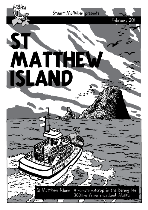 Ocean island boat cartoon. Comic book. Tintin 'The Black Island' cover. Reindeer. St Matthew Island. A remote outcrop in the Bering Sea 300km from mainland Alaska.