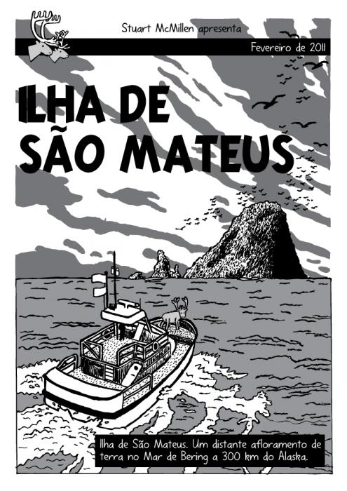 Ilha de São Mateus. Renas cartoon. Ilha de Quadrinhos, cartoon. Tintin, Ilha Negra. São Mateus. Um distante afloramento de terra no Mar de Bering a 300 km do Alaska.