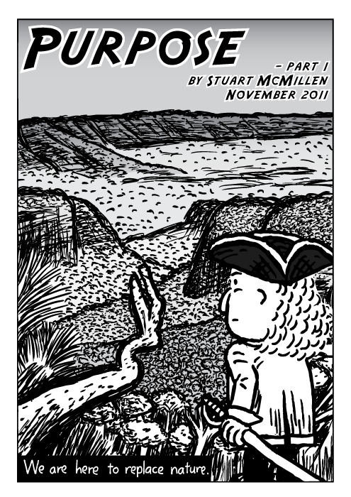 Explorer man tricorne hat cartoon. Comic cover. Valley trees cliffs drawing.