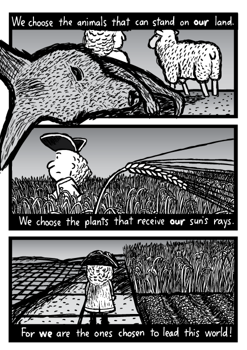 Dead kangaroo farmer sheep cartoon. Man walking through wheatfield drawing. Sugar cane rows, gridlines field. We choose the animals that can stand on our land. We choose the plants that receive our sun's ray. For we are the ones chosen to lead this world!