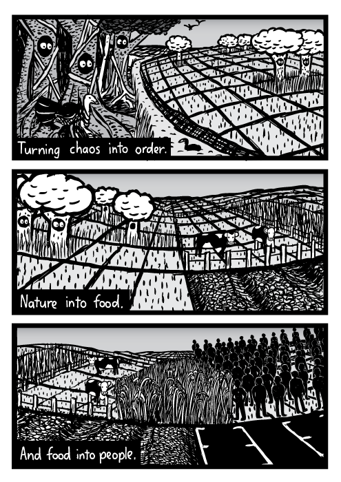 Nature into farmland cartoon. Deforestation drawing. Turning chaos into order. Nature into food. And food into people.