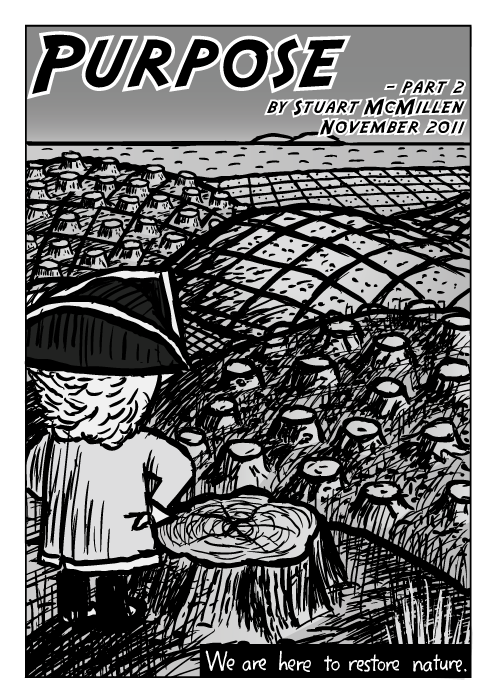 Explorer man tricorn hat cartoon. Comic cover. Logged trees field horizon. Grid hills pollution drawing. We are here to restore nature.