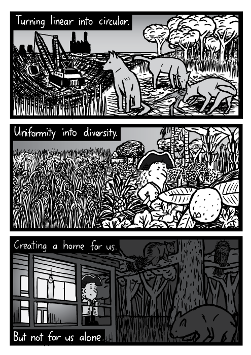 Mining nature cartoon. Nocturnal animals possum wombat drawing. Monoculture to polyculture fruit. Turning linear into circular. Uniformity into diversity. Creating a home for us. But not for us alone.