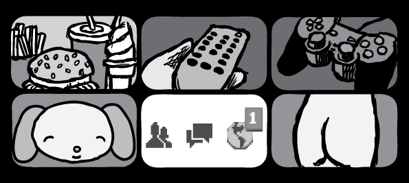 Supernormal Stimuli drawings: burger fries soft serve, remote control, PS2 controller, female behind